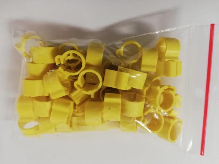 Clipsringe gelb 50 Stück für Tauben