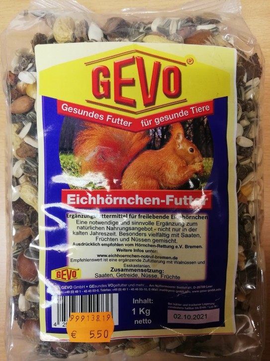 Eichhörnchenfutter 1kg Gevo