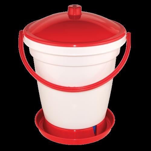 Eimertränke 12 Liter (Geflügeltränke) weiß/ rot